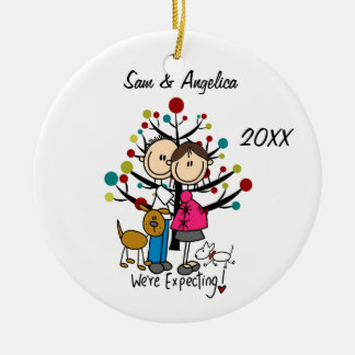 Custom Expectant Couple With Dogs Ornament