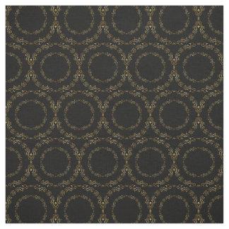 Custom Fabrics-Black & Gold Floral Circle Fabric