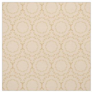 Custom Fabrics-Champagne & Gold Floral Circle Fabric