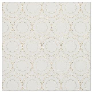 Custom Fabrics-White & Gold Floral Circle Fabric