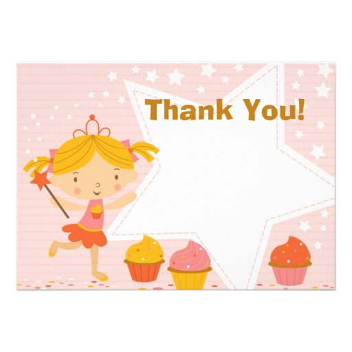 Custom Fairy Princess Cupcake Thank You Custom Invitations