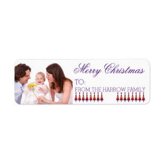 Custom Family Christmas Gift Photo Label Purple