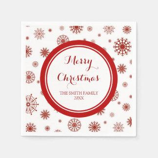 Custom Family Christmas Red Snowflakes Napkins Paper Napkins