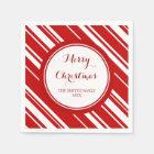 Custom Family Christmas Red Stripes Napkins Paper Napkin