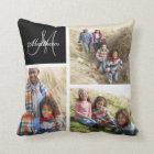 Custom Family Monogram Black Photo Collage Pillow