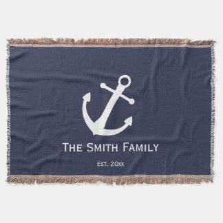Custom Family Name and Established Blue Nautical Throw Blanket