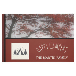 Custom Family Name Fall Tree Branch Happy Campers Doormat