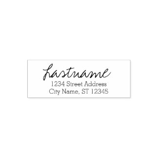 Custom Family Name & Return Address - Written Self-inking Stamp