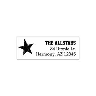 Custom Family Name | Rustic Star Return Address Self-inking Stamp