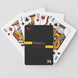 custom family name - stylish & personalized black playing cards