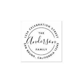 Custom Family Name Wooden Return Address Rubber Stamp