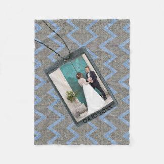 Custom family photo on blue gray fabric texture fleece blanket
