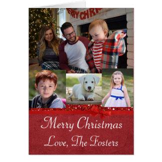 Custom Family Photo Red Glitter Christmas Card