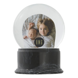 Custom Family Photo with Monogram | Snow Globe