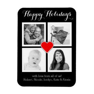 Custom Family Photos Happy Holidays with Heart Vinyl Magnet