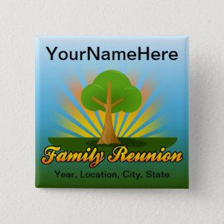 Custom Family Reunion, Green Tree with Sun Rays 15 Cm Square Badge
