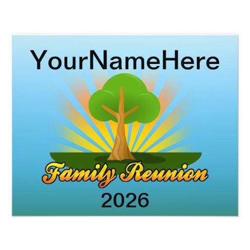 Custom Family Reunion, Green Tree with Sun Rays | Zazzle
