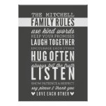 CUSTOM FAMILY RULES modern typography dark grey