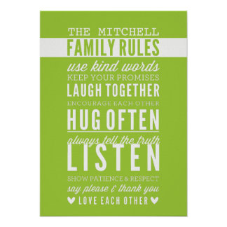CUSTOM FAMILY RULES modern typography lime green Poster