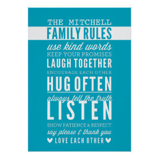 CUSTOM FAMILY RULES modern typography turquoise Print