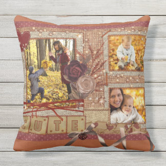 Custom Fancy Photo Frame Autumn Scrapbook Glittery Outdoor Cushion