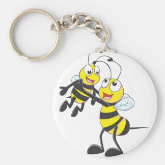 Custom Father Bee Carrying His Son Basic Round Button Key Ring