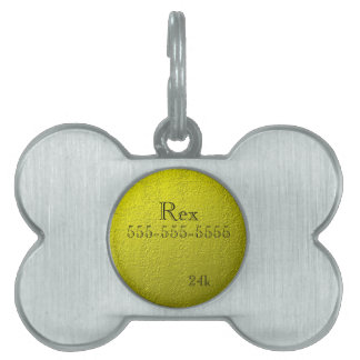 Custom Faux 24k Solid Gold Name and Phone Pet Tags