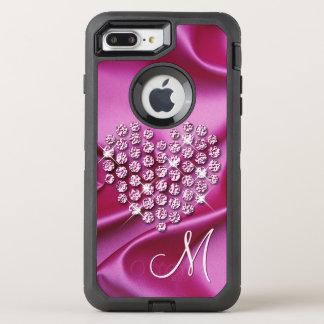 Custom Faux Diamonds Heart Pink Silk Waves Pattern OtterBox Defender iPhone 8 Plus/7 Plus Case
