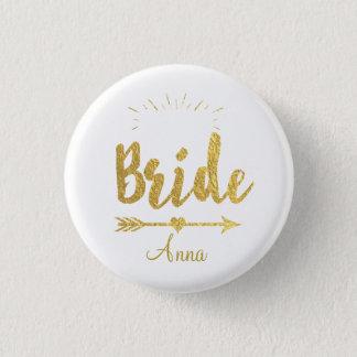 Custom Faux Gold Foil Bride Wedding Team Button