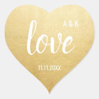 Custom Faux Gold Foil LOVE Script Black Wedding Heart Sticker