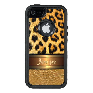 Custom Faux Leopard Skin Gold Leather Pattern OtterBox Defender iPhone Case
