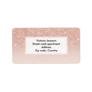 Custom faux rose pink glitter ombre label