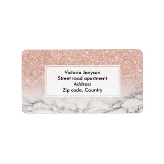 Custom faux rose pink glitter ombre white marble address label