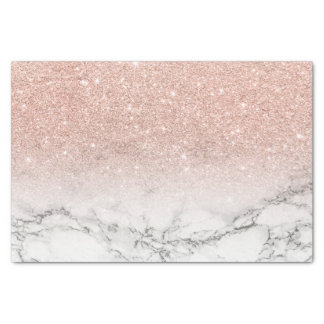 Custom faux rose pink glitter ombre white marble tissue paper