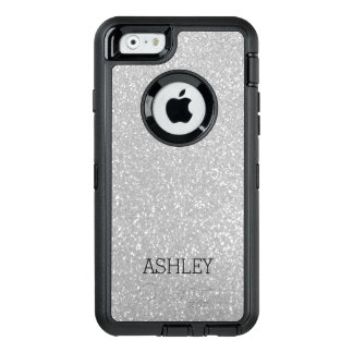 Custom faux silver glitter iPhone 6 Otterbox case