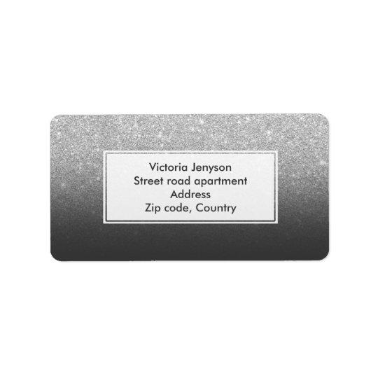 Custom faux silver glitter ombre label