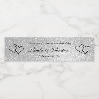 Custom faux silver glitter wedding party favor water bottle label