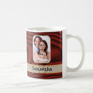 Custom faux wood photo template basic white mug