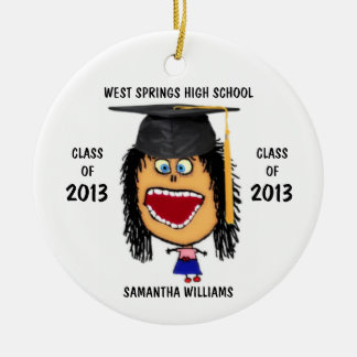 Custom Female Graduate Cartoon Ornament