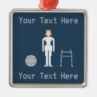 Custom Female Physical Therapy Silver-Colored Square Decoration