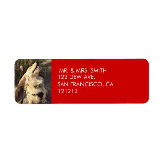 Custom Festive Red Dog Christmas Return Address Return Address Label