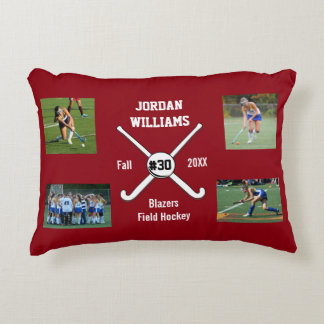Custom Field Hockey Photo Collage Name Team Number Accent Cushion