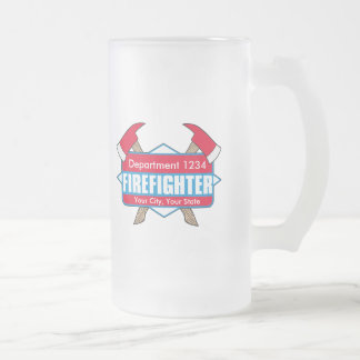 Custom Firefighter with Axes Frosted Glass Beer Mug