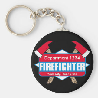 Custom Firefighter with Axes Key Ring