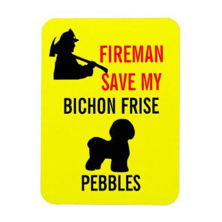 Custom Fireman Save My Bichon Frise Safety Rectangular Photo Magnet