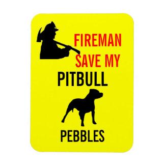 Custom Fireman Save My Pitbull Dog Fire Safety Rectangular Photo Magnet