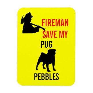 Custom Fireman Save My Pug Fire Safety Rectangular Photo Magnet