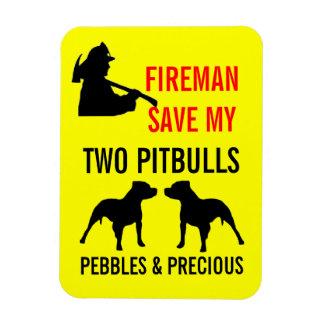 Custom Fireman Save My TWO Pitbulls Fire Safety Rectangular Photo Magnet