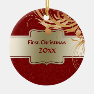 Custom First Christmas Newlyweds Faux Red Glitter Round Ceramic Decoration