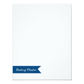 Custom Flat Note Card Blue Banner | Eco-Friendly